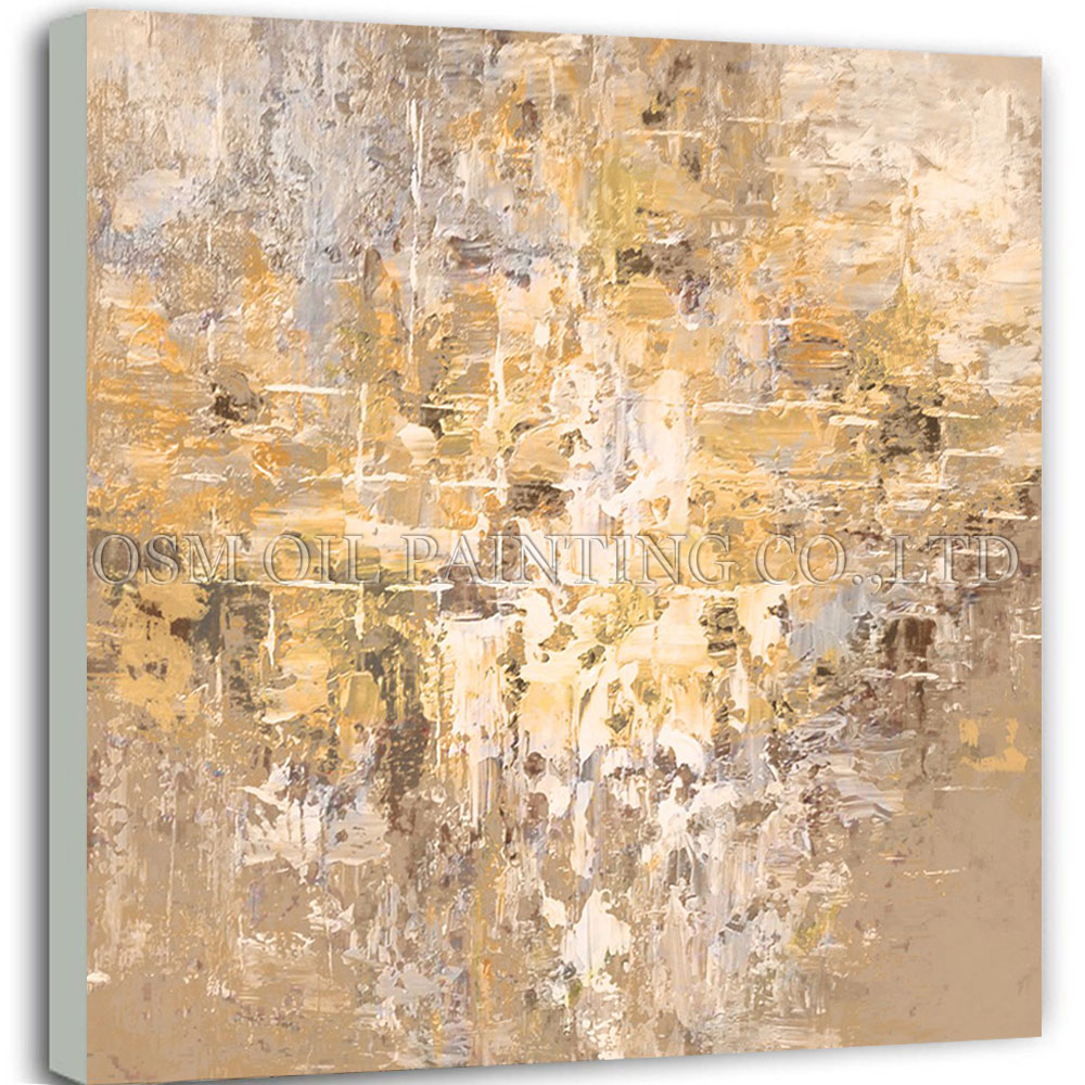 Hand-painted Abstract Golden Oil Painting