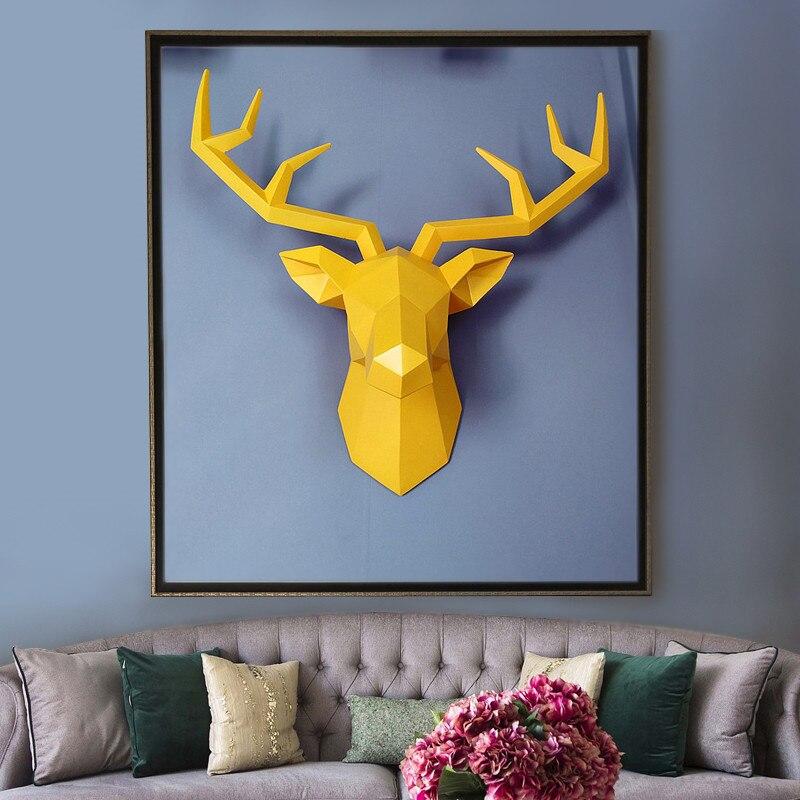 Большой размер 4 цвета в наличии новая геометрия 3D голова оленя украшение стены голова Смола Украшение стены Рождественский подарок Креати