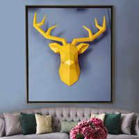 Grote Maat 4 Kleur Beschikbaar Nieuwe Geometrie 3D Animal Deer Head Wanddecoratie Hoofd Hars Muur Ornament Kerstcadeau Creative gift
