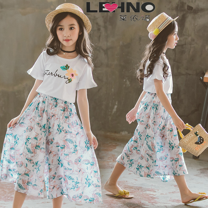 Girls Dress Summer Dress 2019 New Parent-child Two-piece Suit Fashion Female short-sleeved Floral SkirtGirls Dress Summer Dress 2019 New Parent-child Two-piece Suit Fashion Female short-sleeved Floral Skirt