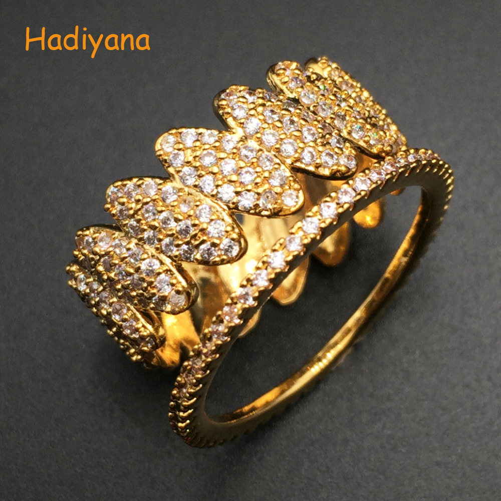 HADIYANA Classic Brand Cubic Zirconia Oval Eye Horse Trendy Finger Ring 2pcs set for Women Perfect Prom Dinner Party CP367