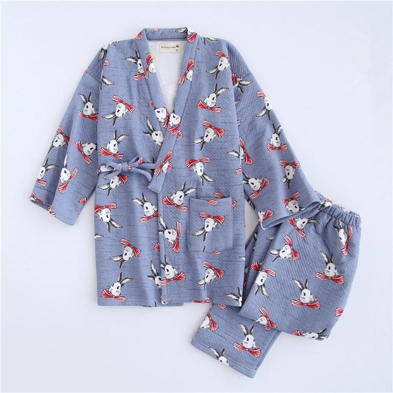 Winter Thicker Pajama Set for Women Japanese Traditional Kimono Pajamas Air Filter Cotton Peter Rabbit Print Robe Pants Set все цены