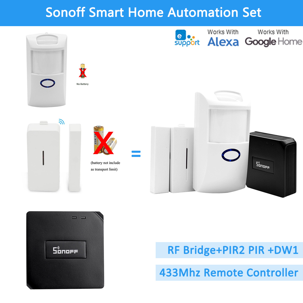 Sonoff RF Bridge 433+PIR2 Sensor+ DW1 Door & Window Alarm Sensor Smart Home Automation Works Security Alarm System With Alexa
