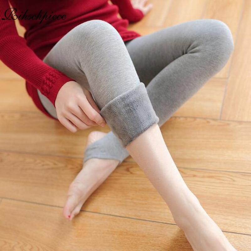 Rihschpiece Winter Velvet Leggings Women Black Christmas Legging Warm Leggins Pants Slim High Waist Fleece Plus Size Leggings