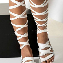 Women Gladiator Cross Tied Flat Summer Sandals Ladies Casual
