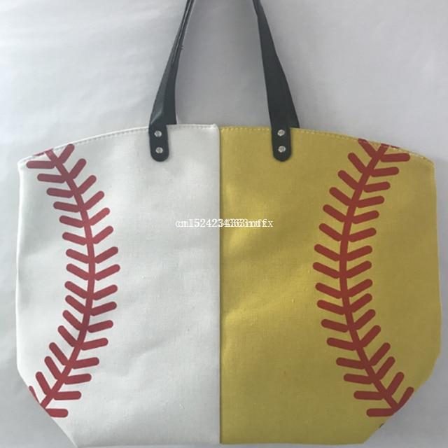 50 Pcs Softball Canvas Lady Bag Shoulder Baseball Women S Handbag Cute Canva Basketball Tote Bags