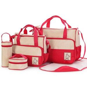 Image 3 - 5PCS/Set Large Diaper Bag baby Diaper Bags Durable Multifunctional Big Capacity Nappy Kids Bags Waterproof Tote Bags T0036