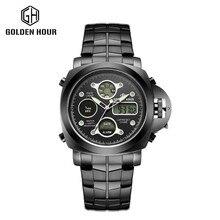 2017 new Sports Watch Men Full stainless steel waterproof Quartz-watch Digital Led Analog Dual display Men's Wrist Watches