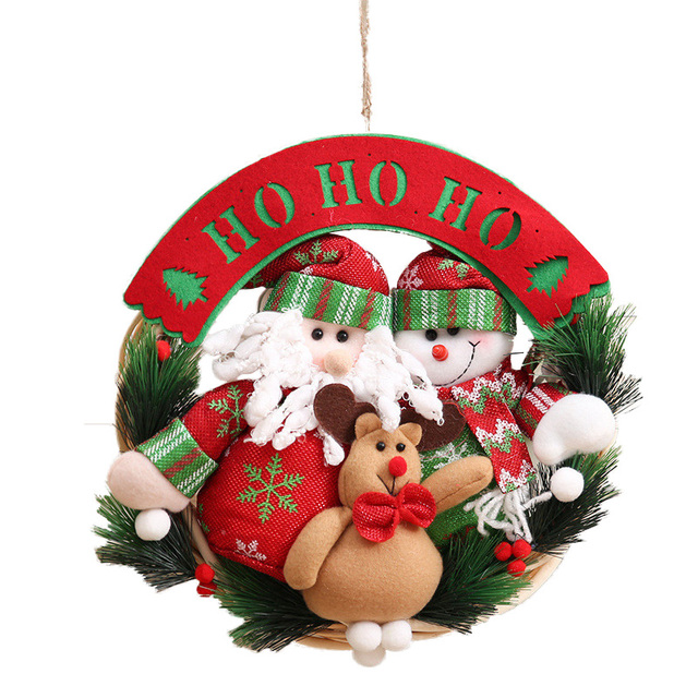 New Christmas Ornaments Wooden Christmas Wreath Ring Pendant ...