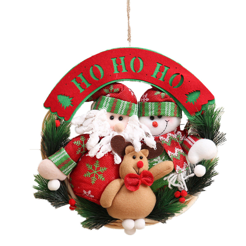 New Christmas Ornaments Wooden Christmas Wreath Ring Pendant Christmas Decorations for H ...