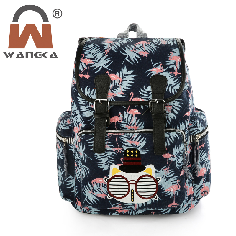 2018 New Canvas Drawstring BackPack Women Lovely Cat Printing School Bags Korean Style