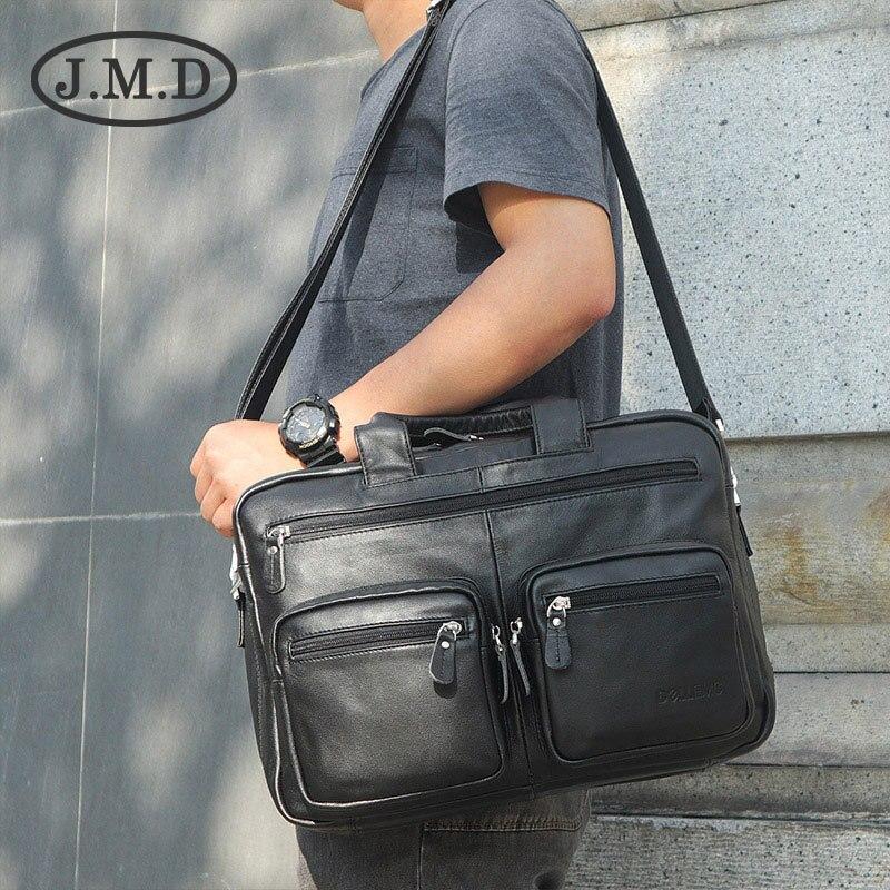 J.M.D Real Cow Leather Fashion Men's Brown Top Handle Laptop Bag Office Briefcase Shoulder Messenger Bag Handbags 7231