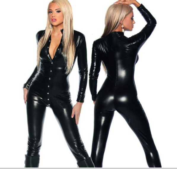 Vocole Sexy Women Black PVC Wet Look Catsuit Bodysuit Long Sleeves Fetish Erotic Clubwear Faux Leather Latex Nightclub Costume