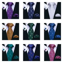 hot deal buy ls-5003 8.5cm 2018 new mens tie 100% silk barry.wang 11 colors paisley ties for men wedding business style dropshipping tie set