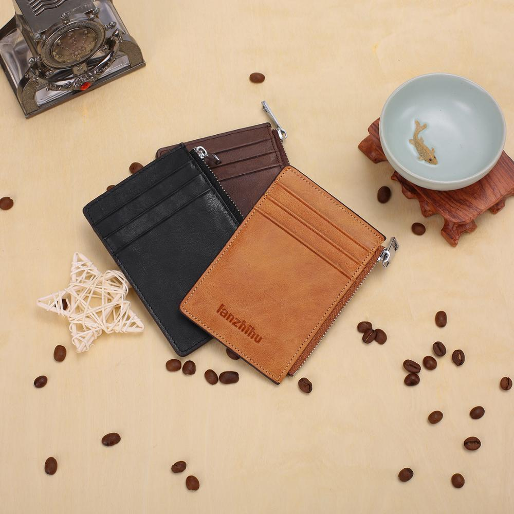 Brand Men Wallet RFID Blocking Genuine Leather Slim Wallet Small Ultra thin Compact Wallet Card Holder Male Designer Coin Purse in Wallets from Luggage Bags