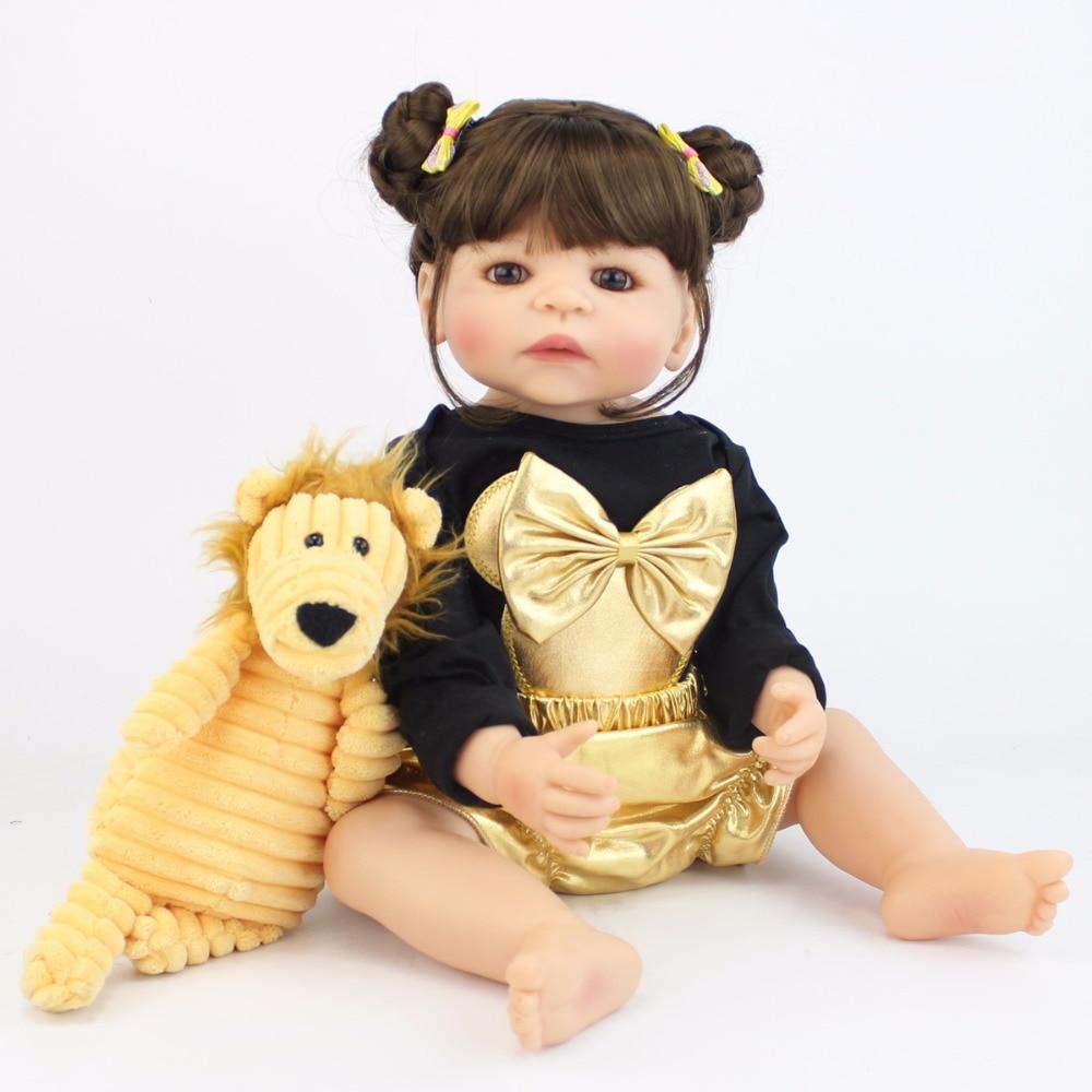 55cm Full Silicone Reborn Baby Doll Toy Like Real Girl Boneca Vinyl Newborn Toddler Babies Princess Bebe Alive Birthday Gift