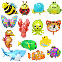 Children's Toy 32 types Large Cartoon Animal Foil Balloons Butterfly Ladybug Fish Tiger Ballons for Kids Birthday Party Decor(China)