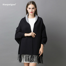 2018 Autumn Women Poncho Batwing Sleeve Cashmere Tassels Cardigans Winter Cape Double-sided Shawl