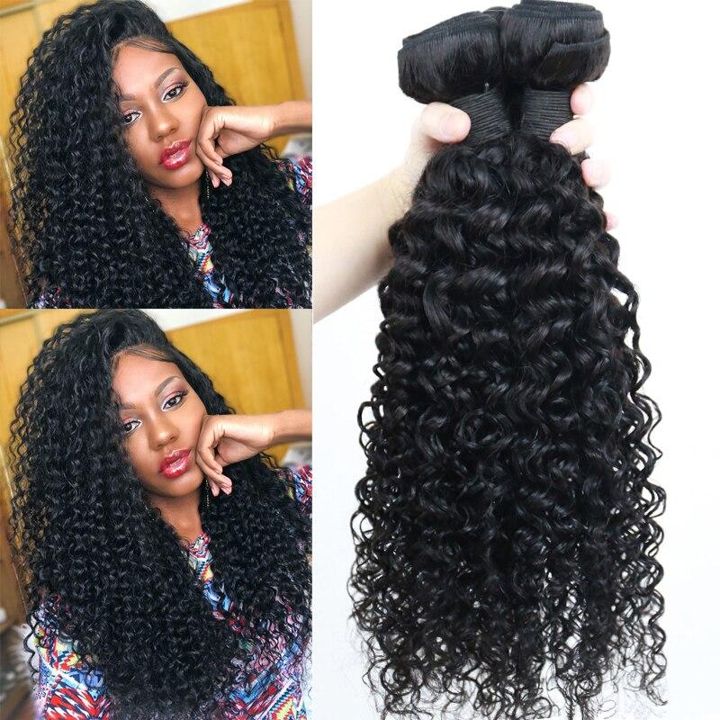 Deep Curly Hair Bundles 3 Human Hair Bundles Extensions 100% Brazilian Hair Weave Bundles Healthy End Natural Black Wave Remy