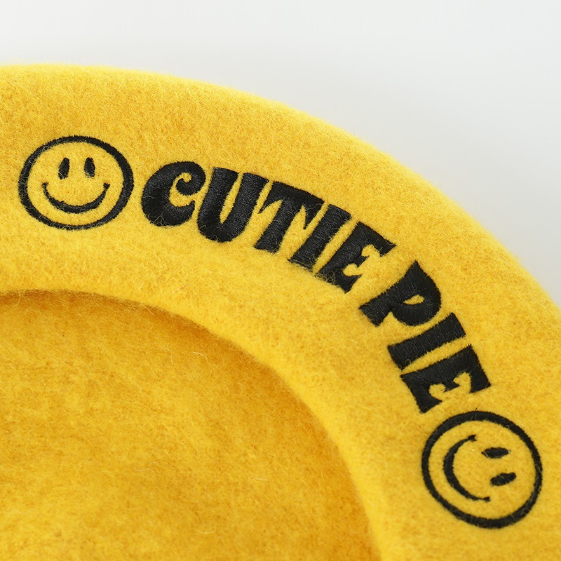 Image 3 - Autumn winter new smiley face embroidery wool hats painter cap ladies fashion berets hat woolen hat  girls beret caps for women-in Women's Berets from Apparel Accessories