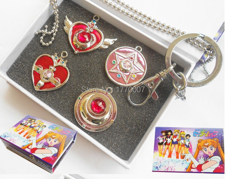 4pc/lot Silver Bowknot Sailor Moon Pretty Guardian Heart+Star+Moon Pendant Necklace+Keychain Anime Gift Box Cos Dropship