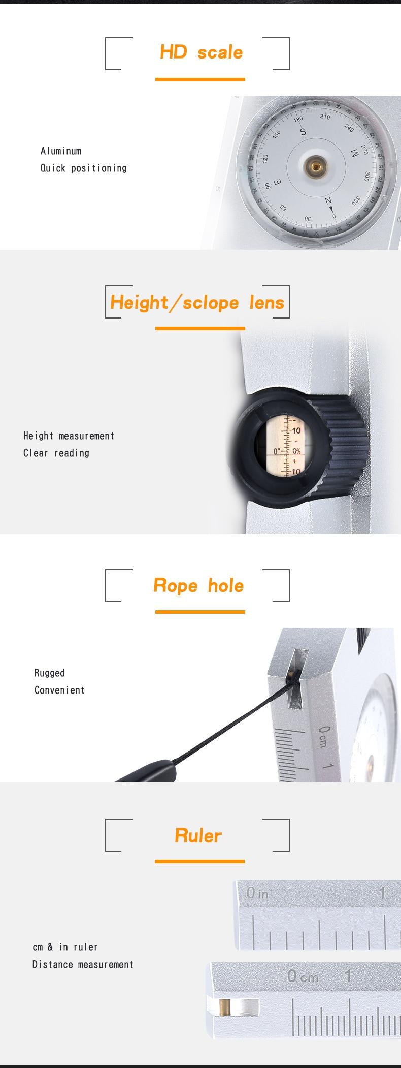 Bússola de avistamento de alumínio impermeável profissional