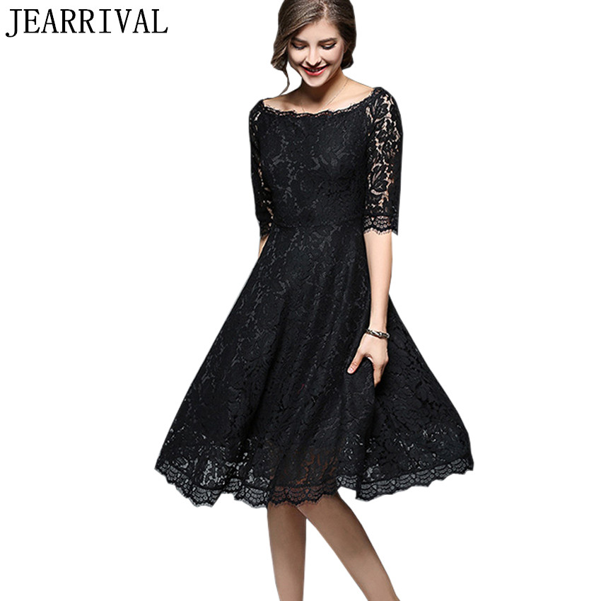 Sexy Off Shoulder Lace Dress Women 2018 New Summer Fashion Slash Neck Runway Hollow Out Elegant Party Dress Vestido De Festa