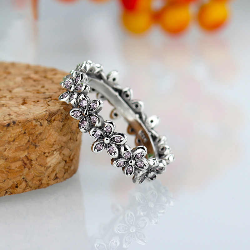 cf4b19cf4 ... New 925 Sterling Silver Ring Dazzling Daisy Flower Chain With Crystal  Rings For Women Wedding Party ...
