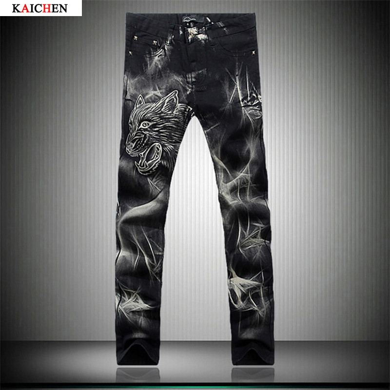 ФОТО Individual Design Fashion Male Colored Drawing Straight Jeans Men's Denim Animal Pattern Printed Jeans Free Shipping