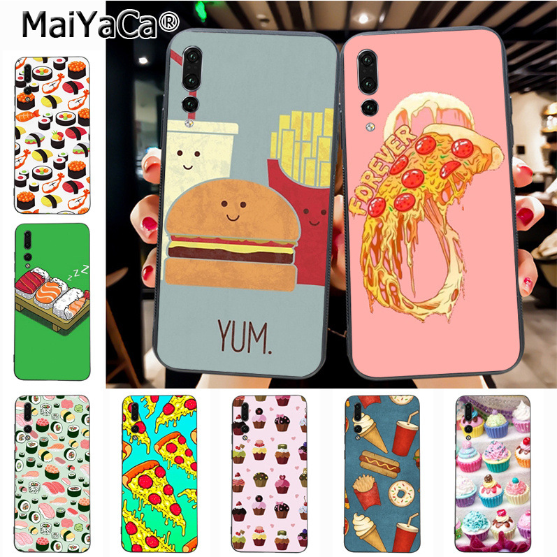Maiyaca Fast Food Hamburger fries coke cola Pizza Luxury High-end phone Case for Huawei P20 P20 pro Mate10 P10 Plus Honor9 case