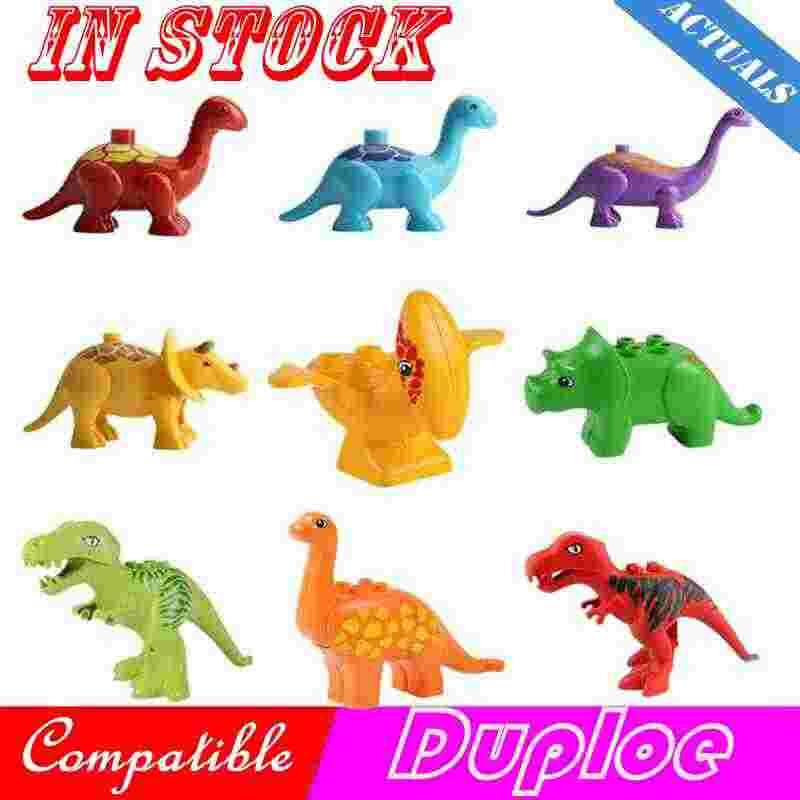 Создатель Duplo животных Парк Юрского периода Динозавр мир тираннозавр рекс Птерозавр Трицератопс блоки моделей игрушки Совместимые с Duploed