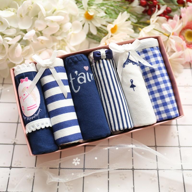 Underwear women set bielizna majtki six pcs gift box cute sexy cotton panties women cute girls briefs bragas thongs UNGD06