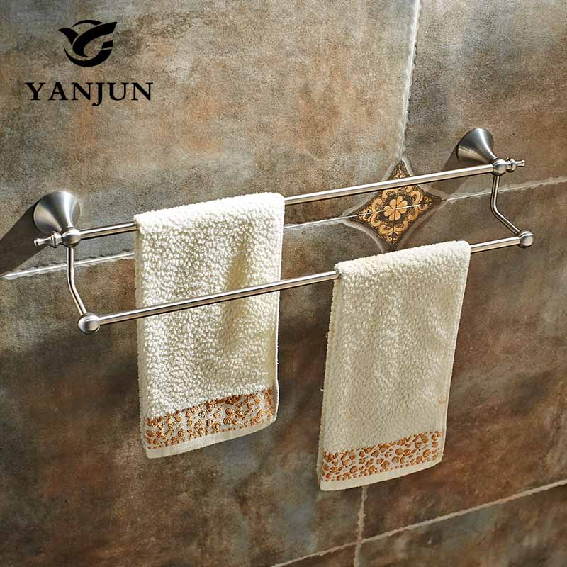 YANJUN 304 Stainless Steel Brushed Wall-Mounted Double Towel Bars Towel Hanger Towel Rack 60CM Bathroom Accessories YJ-7459 free shipping bathroom accessories products solid 304 stainless steel nickel brushed double towel bars towel holder sus003