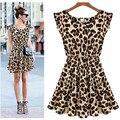 Женщины Платье Животных Печати Leopard Повседневная Vestido Oncinha Leopardo Dress Плюс Размер 2017 Летом Стиль Платья Женская Одежда F925