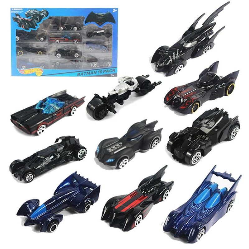 10pcs Box Hot Wheels Classic Toy Batman Car Metal Mini Scale Slide