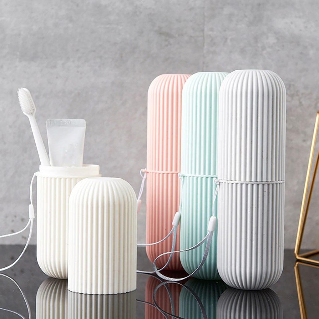 Toothbrush Case Storage-Box Travel Plastic Bathroom Outdoor Stripe Wash-Cup Hiking