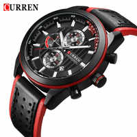 CURREN Mens Watches Top Brand Luxury Fashion Casual Waterproof Chronograph Date Genuine Leather Sport Military Male Clock 8292