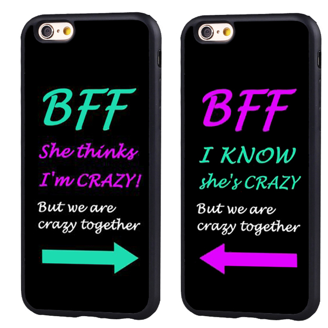 37deee1db BFF best friends i am crazy foreve pair Soft Silicone Protective case Cover  For iPhone X 8 7 7Plus 6 6S Plus 5 5S SE