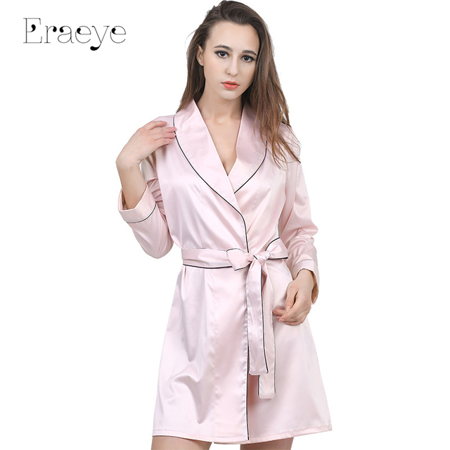 ERAEYE Mulheres faux slik cetim cinto roupões quimono robes nightdress pijama empregada doméstica das noivas vestidos de manga longa casaco camisola sleepwear