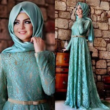 Kaftan Dubai Lace Blue Evening Dress With Long Sleeves 2016 Arabic Muslim Hijab Longos Vestidos Prom Party Gowns