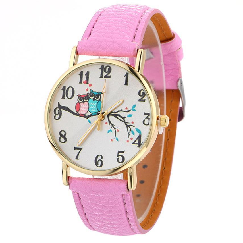 Cute Owl Pattern Neutral Fashion Leather Quartz Wrist Watch A4114