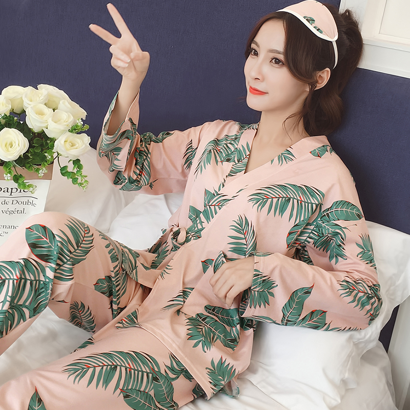 Women   Pajamas   Print Pants Autumn Winter Pijamas   Set   Women Sleep   Set   Night Kimono Bathroom Women   Pajama     Sets   Long Pant   Set   Robe
