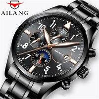 Função de calendário Relógios AILANG Marca New Arrival Homens de Negócios mecânico de Aço Inoxidável Relógios de Pulso Relogio masculino 50 M