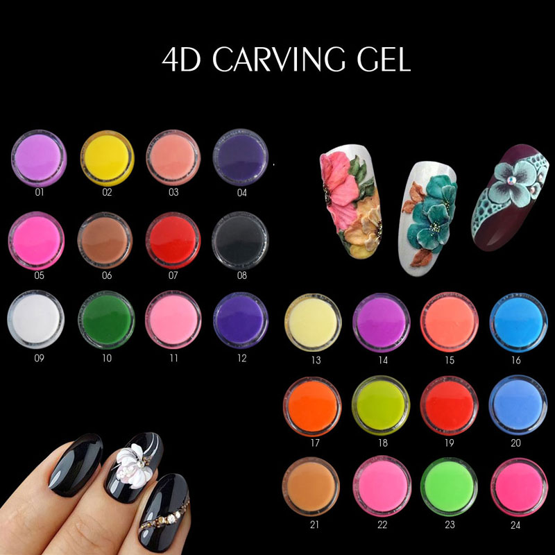 Ea 24 Colors Modeling Gel Nail Polish Art Design 3d Uv Gelpolish