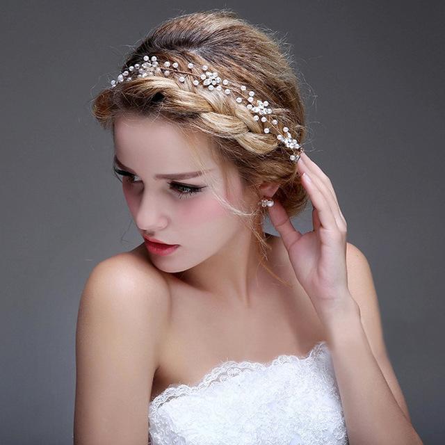 Pérolas Headpiece Bridal Acessórios Para o Cabelo Para O Casamento do vintage Boho Frete Grátis Em Estoque Bling Bling Cabelo Barato Desgaste