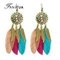 Fanhua 2016 famosa marca de jóias brincos boho étnico antigo ouro longo dangle brincos de penas coloridas para mulheres brincos