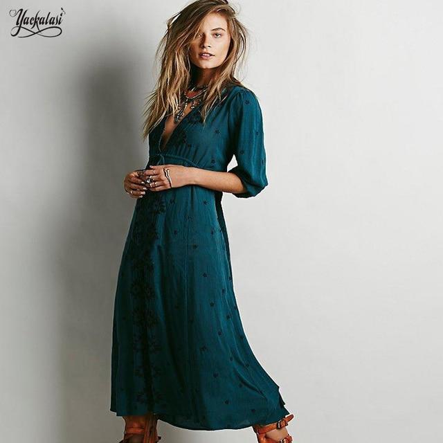 Yackalasi Women Summer Dress 2018 New Bohemian Vintage Ethnic Dark Green Flower Embroidered Cotton Tunic Casual Long Dress