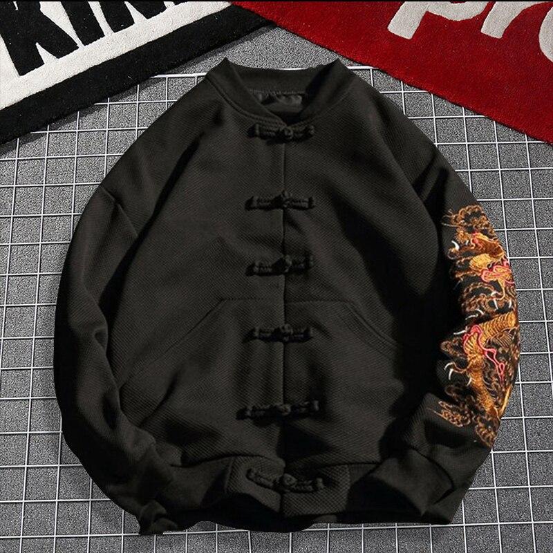 Winter Plus size 2xl 7xl 8xl gebreide Hoodies europese knop bovenkleding grote mannelijke turn down kraag thermische zwarte Sweatshirts - 2