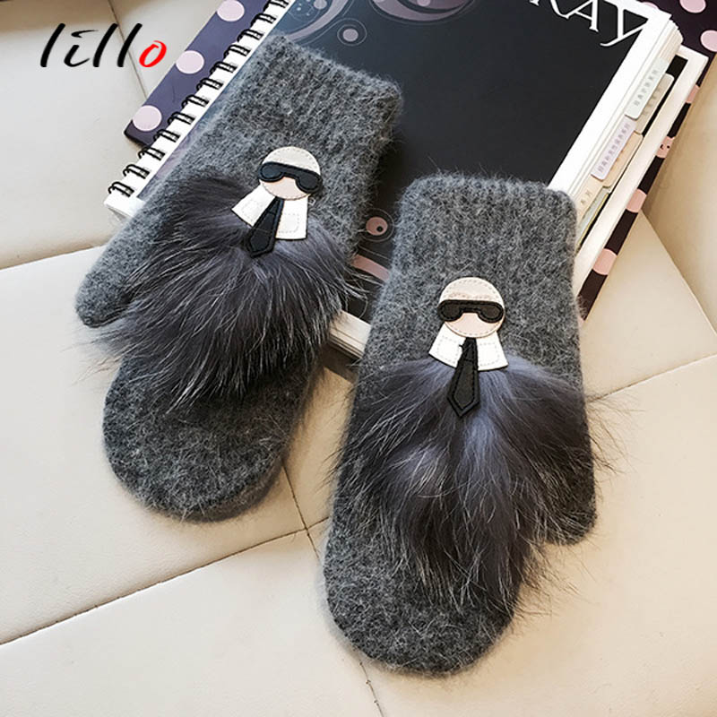 2019 New Glove Leather Gloves Raccoon Hair True Hair Rabbit Fur Blended Even Finger Glove Female Warm Tide Goods Winter Gloves