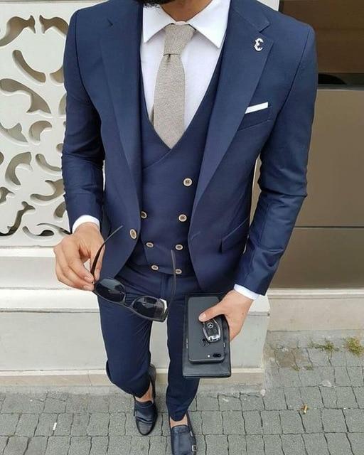 2018 Latest Coat Pant Designs Navy Blue Men Suit Jacket Groom Style